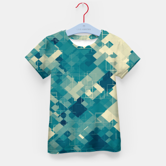 blue geometric square pixel pattern abstract background Kid's t-shirt obraz miniatury