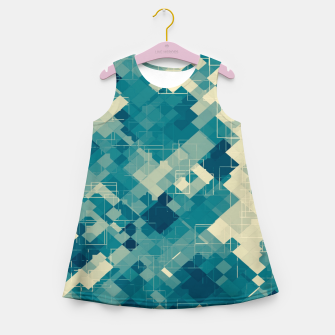 blue geometric square pixel pattern abstract background Girl's summer dress obraz miniatury