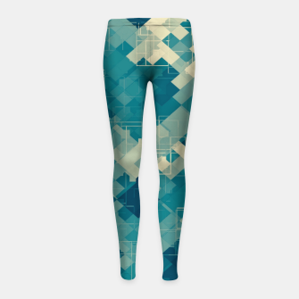 blue geometric square pixel pattern abstract background Girl's leggings obraz miniatury
