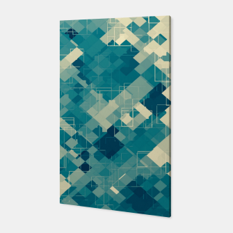 blue geometric square pixel pattern abstract background Canvas obraz miniatury