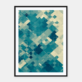 blue geometric square pixel pattern abstract background Framed poster obraz miniatury
