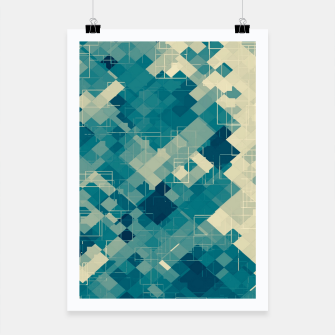 blue geometric square pixel pattern abstract background Poster obraz miniatury