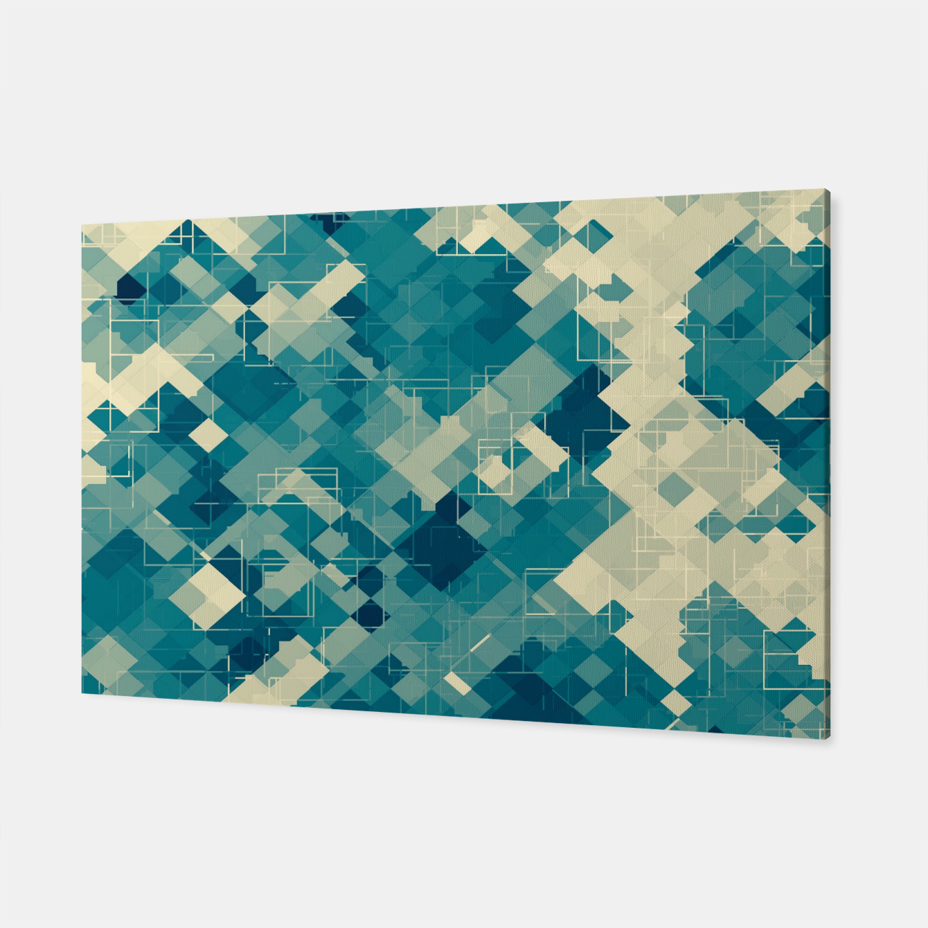 Zdjęcie blue geometric square pixel pattern abstract background Canvas - Live Heroes