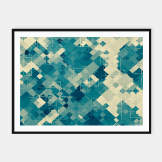 Miniaturka blue geometric square pixel pattern abstract background Framed poster, Live Heroes