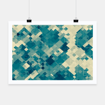 Miniaturka blue geometric square pixel pattern abstract background Poster, Live Heroes