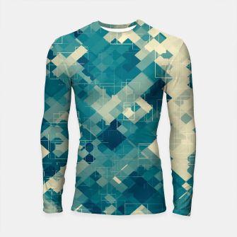 blue geometric square pixel pattern abstract background Longsleeve rashguard  obraz miniatury