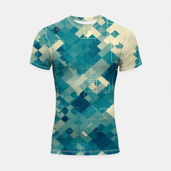 blue geometric square pixel pattern abstract background Shortsleeve rashguard obraz miniatury