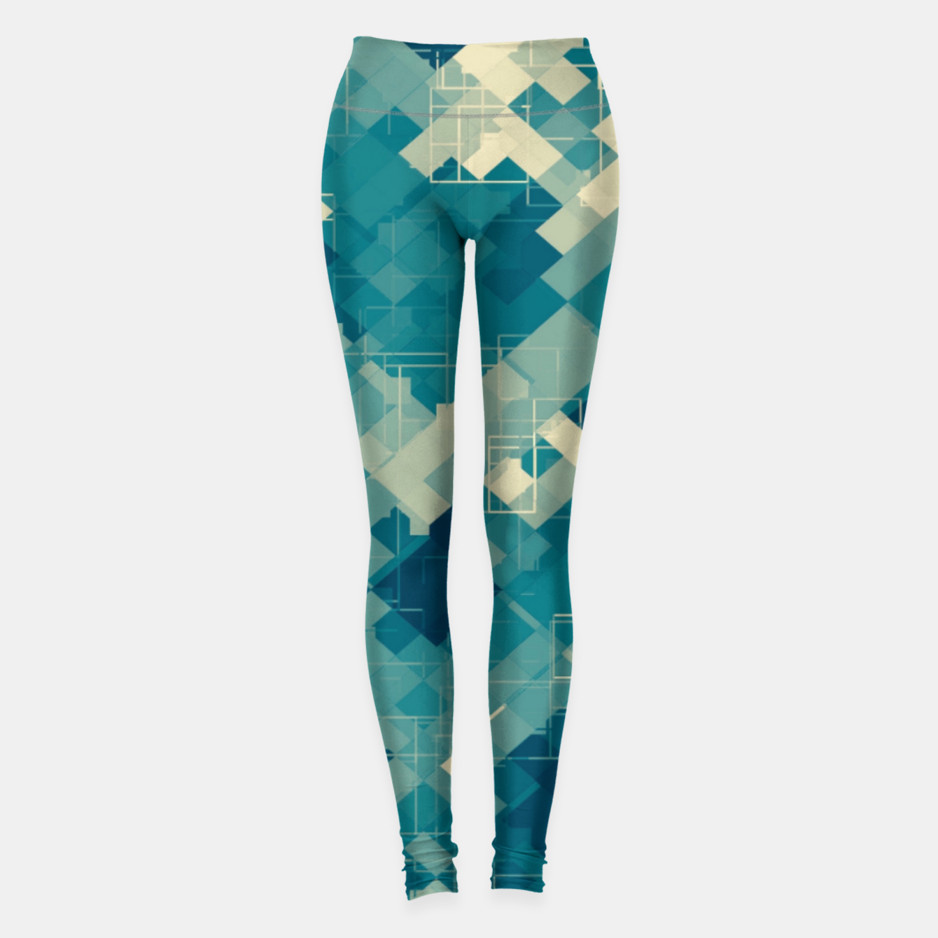 Zdjęcie blue geometric square pixel pattern abstract background Leggings - Live Heroes