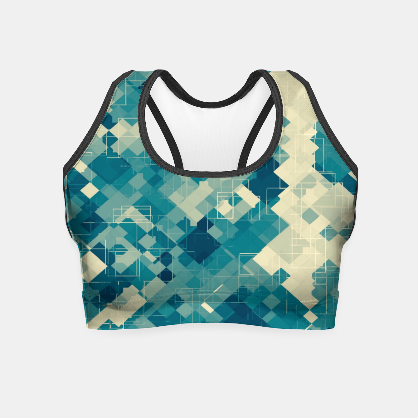 Zdjęcie blue geometric square pixel pattern abstract background Crop Top - Live Heroes