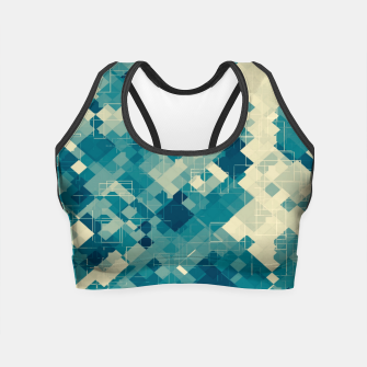 Miniaturka blue geometric square pixel pattern abstract background Crop Top, Live Heroes