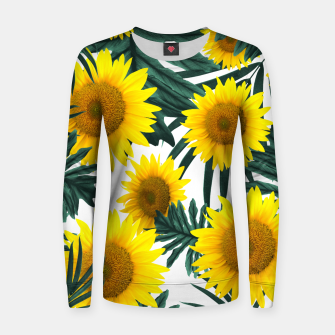 Miniature de image de Tropical Sunflower Jungle Leaves Pattern #1 #tropical #decor #art  Frauen sweatshirt, Live Heroes