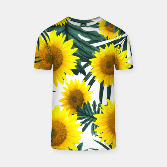 Thumbnail image of Tropical Sunflower Jungle Leaves Pattern #1 #tropical #decor #art  T-Shirt, Live Heroes