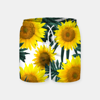 Thumbnail image of Tropical Sunflower Jungle Leaves Pattern #1 #tropical #decor #art  Badeshorts, Live Heroes