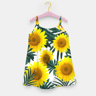 Thumbnail image of Tropical Sunflower Jungle Leaves Pattern #1 #tropical #decor #art  Mädchenkleid, Live Heroes