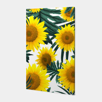 Thumbnail image of Tropical Sunflower Jungle Leaves Pattern #1 #tropical #decor #art  Canvas, Live Heroes