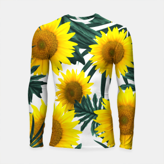 Imagen en miniatura de Tropical Sunflower Jungle Leaves Pattern #1 #tropical #decor #art  Longsleeve rashguard, Live Heroes