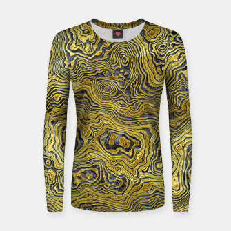 Miniature de image de Abstract Black Gold Marble Women sweater, Live Heroes
