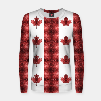 Thumbnail image of Canada flag red sparkles pattern Women sweater, Live Heroes