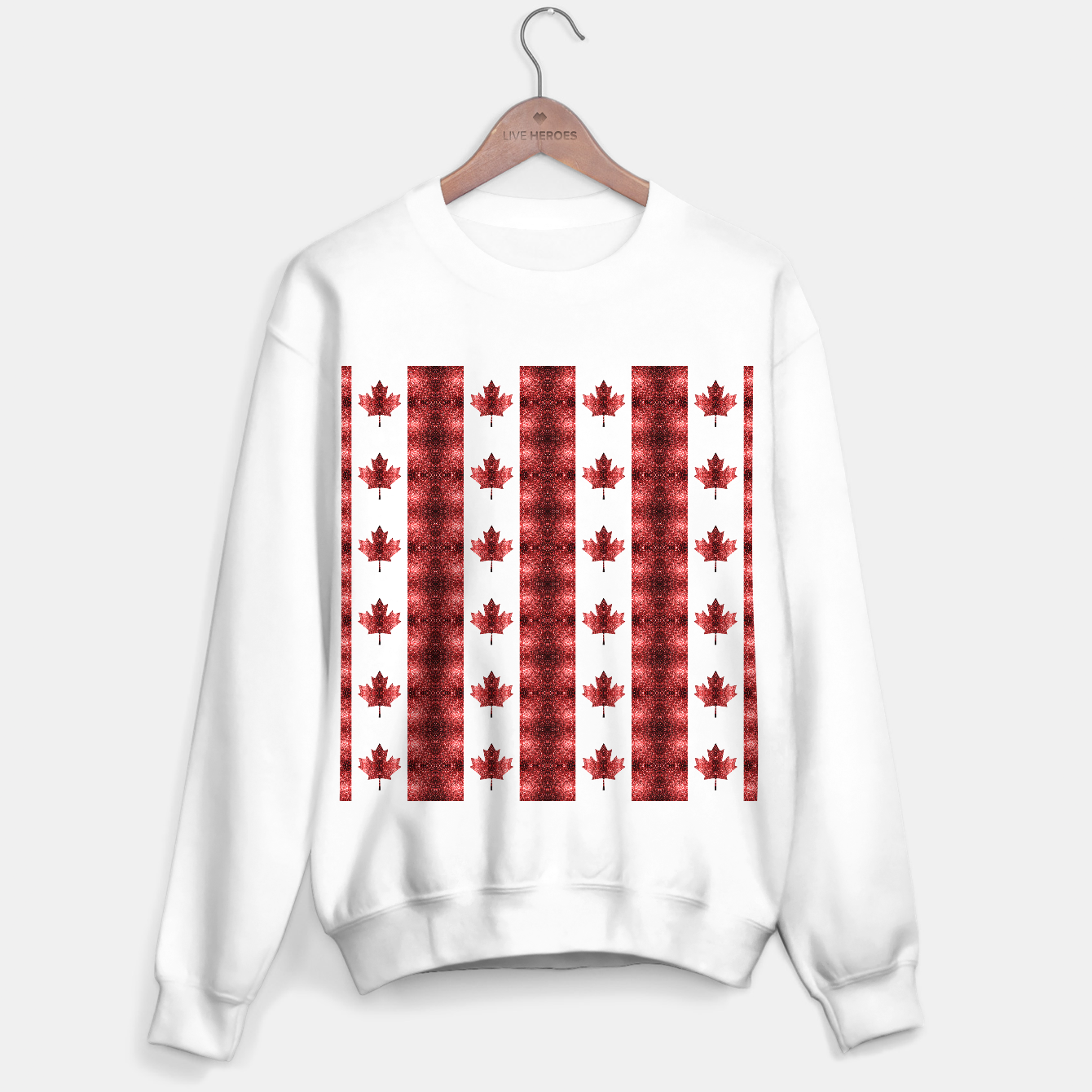 Image of Canada flag red sparkles pattern Sweater regular - Live Heroes