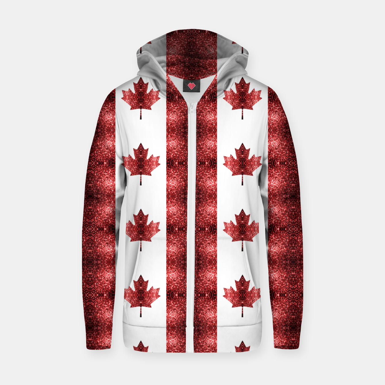 Image of Canada flag red sparkles pattern Zip up hoodie - Live Heroes