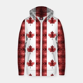 Thumbnail image of Canada flag red sparkles pattern Zip up hoodie, Live Heroes