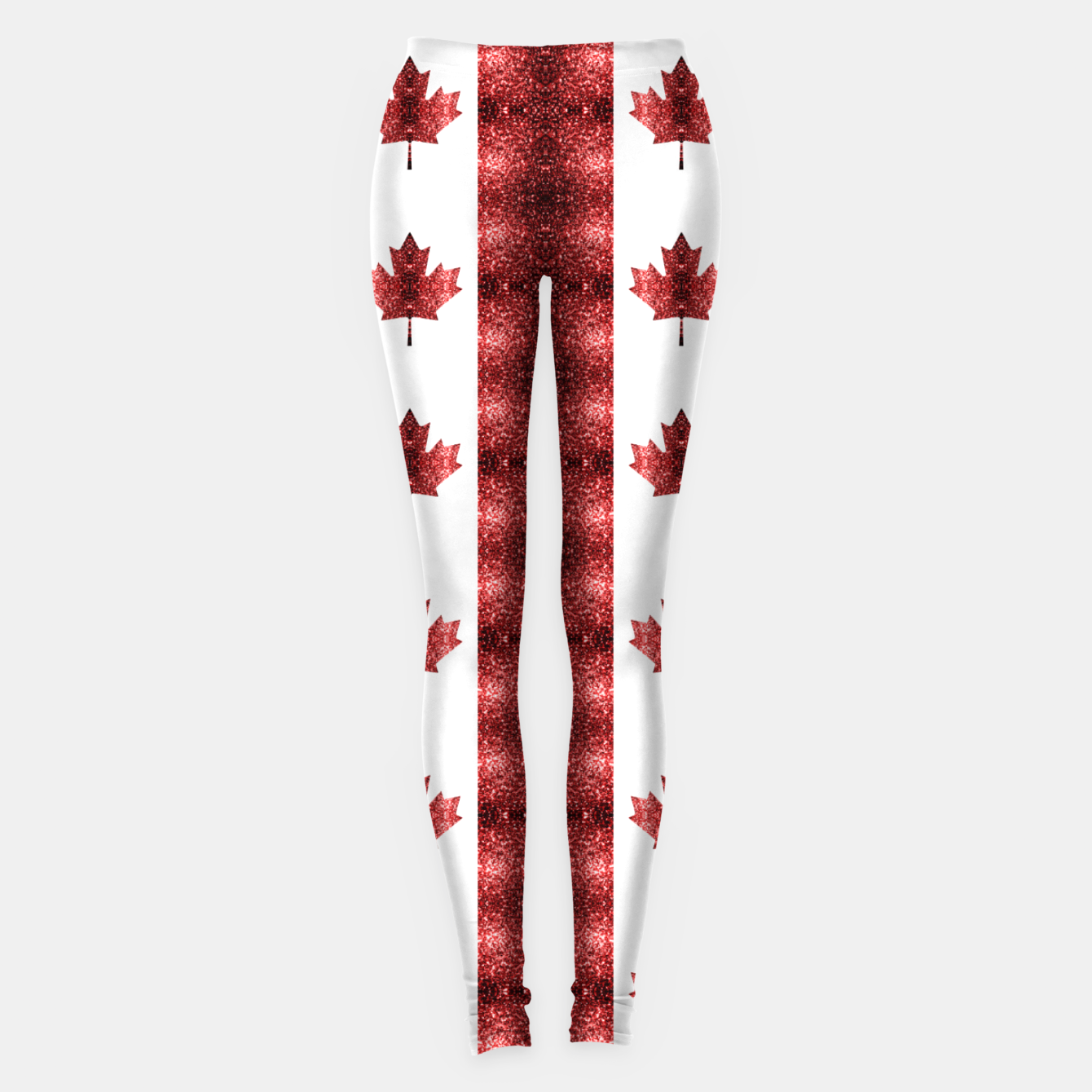Image of Canada flag red sparkles pattern Leggings - Live Heroes