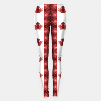 Thumbnail image of Canada flag red sparkles pattern Leggings, Live Heroes