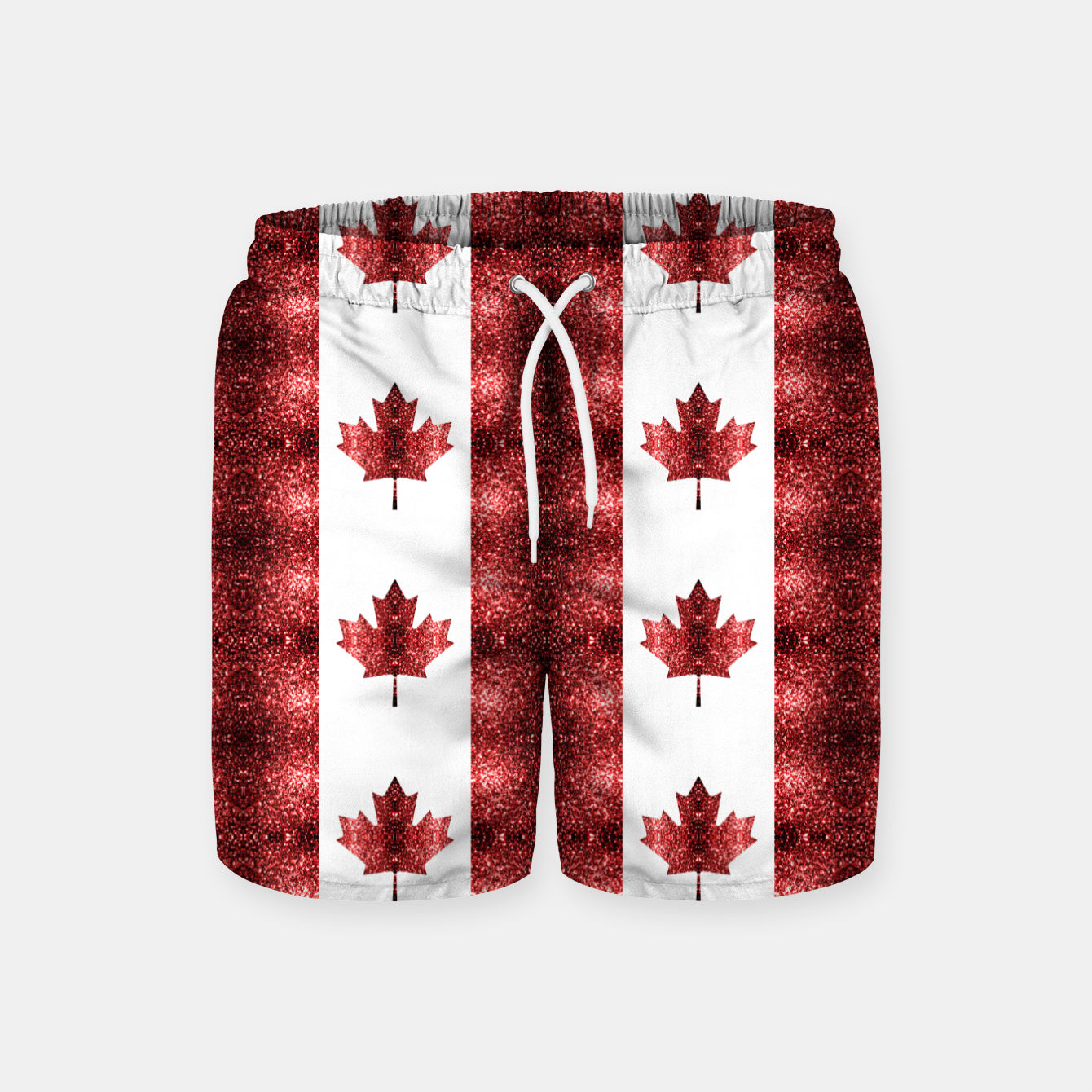Image of Canada flag red sparkles pattern Swim Shorts - Live Heroes