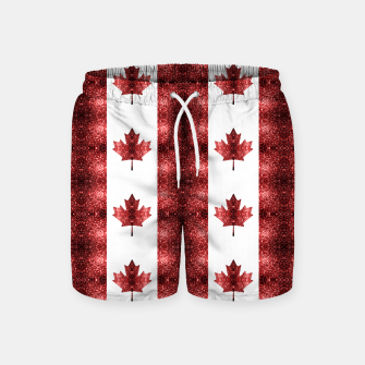 Canada flag red sparkles pattern Swim Shorts thumbnail image