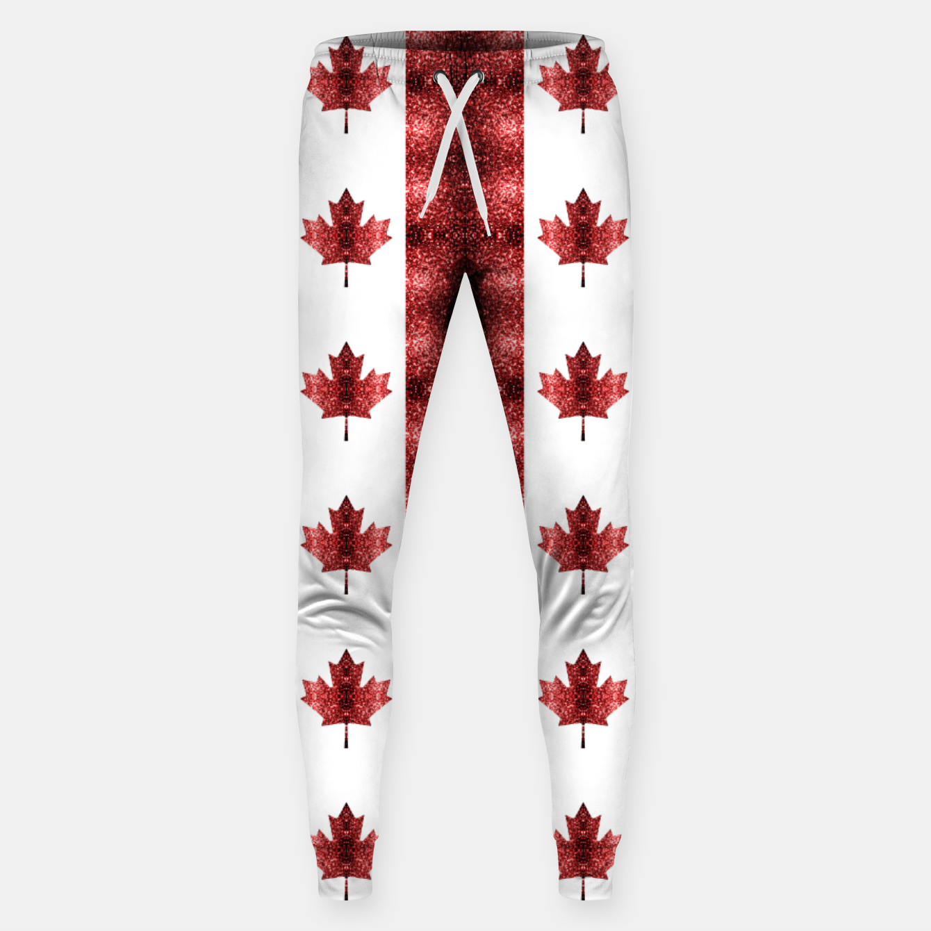 Image of Canada flag red sparkles pattern Sweatpants - Live Heroes