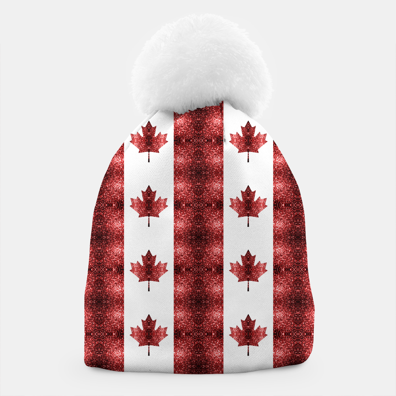 Image of Canada flag red sparkles pattern Beanie - Live Heroes