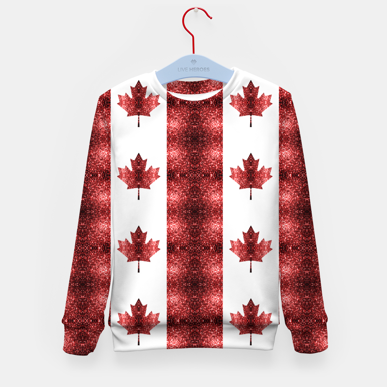 Image of Canada flag red sparkles pattern Kid's sweater - Live Heroes