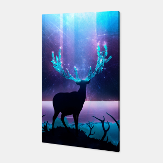 Greenery Deer - Sterling Magenta Canvas Bild der Miniatur