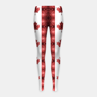 Canada flag red sparkles pattern Girl's leggings thumbnail image