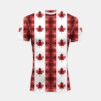 Thumbnail image of Canada flag red sparkles pattern Shortsleeve rashguard, Live Heroes