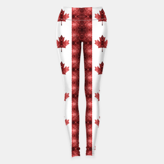 Canada flag red sparkles pattern Leggings thumbnail image