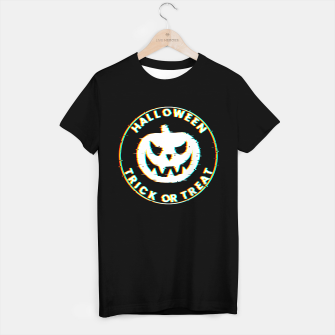 Thumbnail image of Halloween Pumpkin Scary Face Glitch Effect Camiseta Regular, Live Heroes