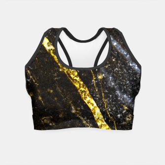Thumbnail image of Gold sparkly line on black rock Crop Top, Live Heroes