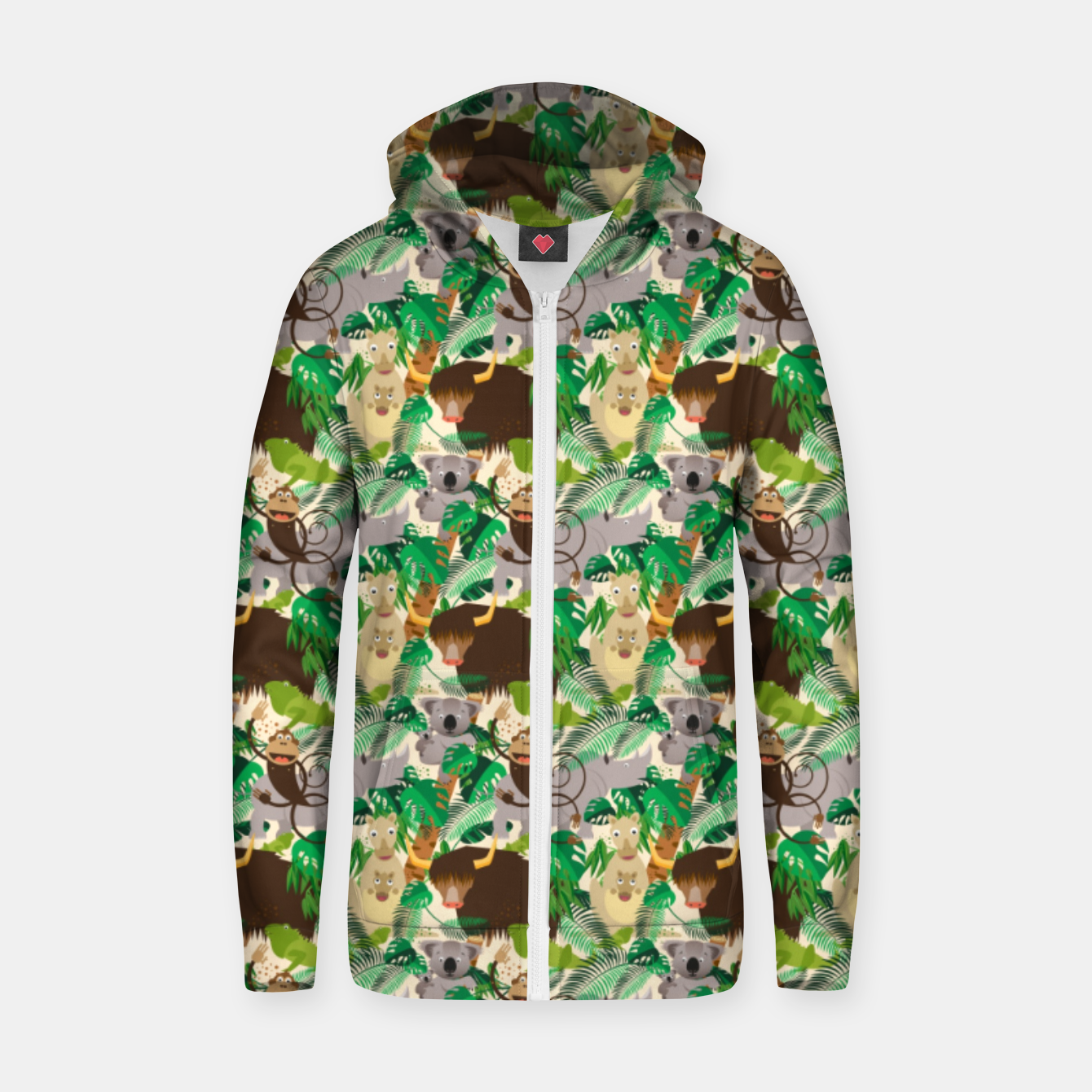 Image of Animals in the Jungle – Zip up hoodie - Live Heroes