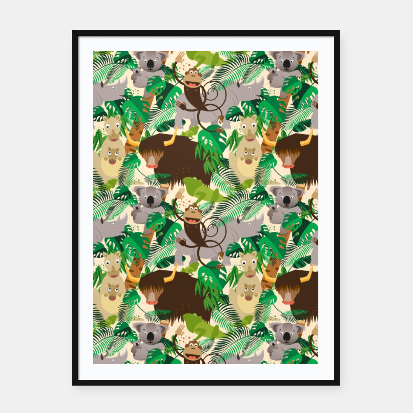 Image of Animals in the Jungle – Framed poster - Live Heroes
