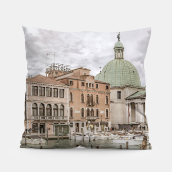 Thumbnail image of Gondolas Parked at Grand Canal, Venice, Italy Pillow, Live Heroes