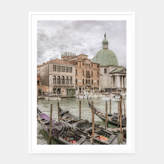 Thumbnail image of Gondolas Parked at Grand Canal, Venice, Italy Framed poster, Live Heroes