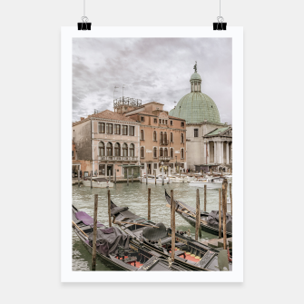 Thumbnail image of Gondolas Parked at Grand Canal, Venice, Italy Poster, Live Heroes