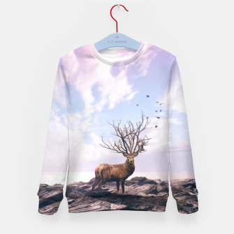 Deer on a Cliff Kid's sweater obraz miniatury