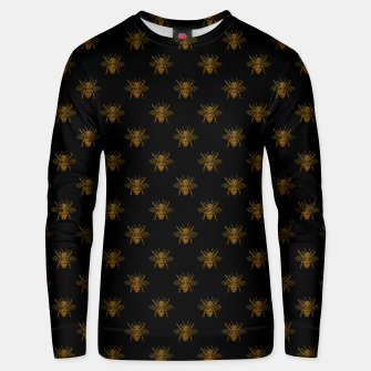 Thumbnail image of Gold Metallic Foil Bees on Black Unisex sweater, Live Heroes
