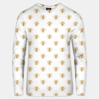 Imagen en miniatura de Gold Metallic Faux Foil Photo-Effect Bees on White Unisex sweater, Live Heroes
