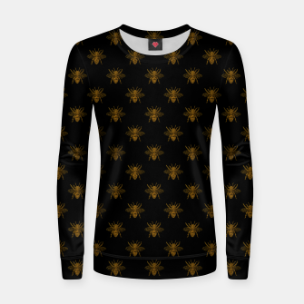 Thumbnail image of Gold Metallic Foil Bees on Black Women sweater, Live Heroes