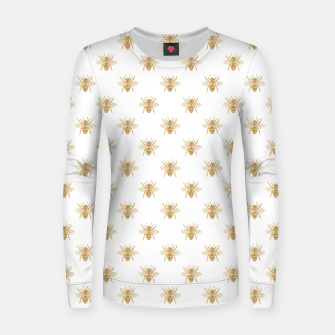 Thumbnail image of Gold Metallic Faux Foil Photo-Effect Bees on White Women sweater, Live Heroes