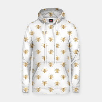 Thumbnail image of Gold Metallic Faux Foil Photo-Effect Bees on White Hoodie, Live Heroes