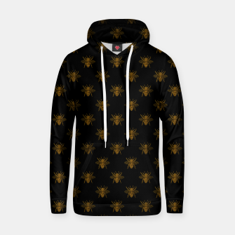 Thumbnail image of Gold Metallic Foil Bees on Black Hoodie, Live Heroes